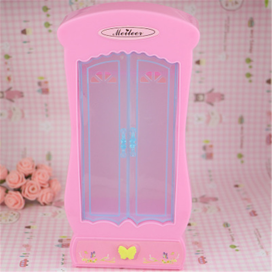 Genuine Plastic Pink Clothes Wardrobe Collector Organizor Set for Barbie Dolls Girl Dollhouse Furniture Accessories(China (Mainland))