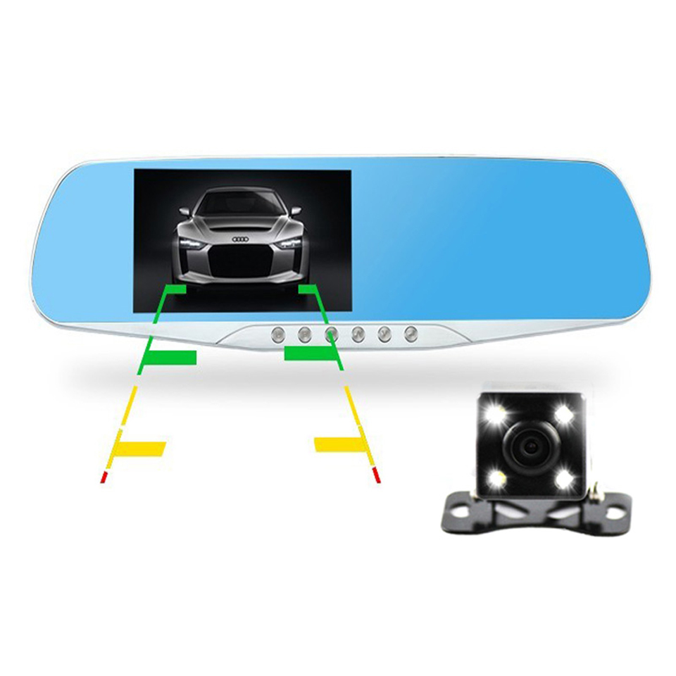 """4.3""""LCD Night Vision Car Dvr Review Mirror Full HD 1080P Dual Lens Video Recorder Auto Camcorder With 5 LED Light Dash Cam(China (Mainland))"""