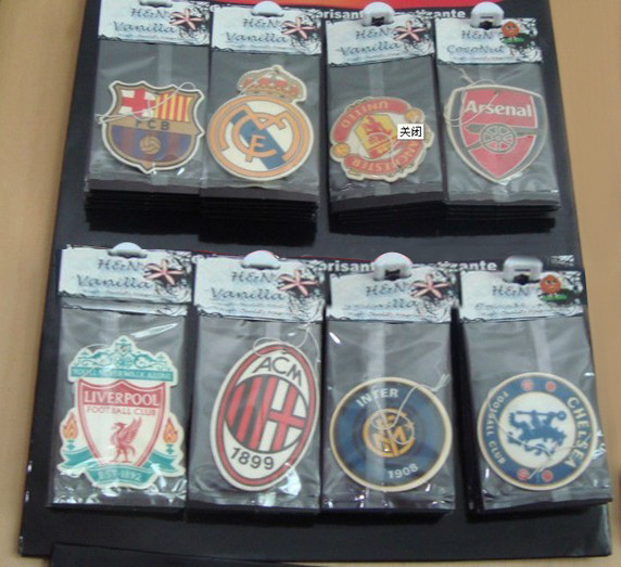 Free shipping hot sale famous football club paper car air freshener for promotional perfumer paper AAA(China (Mainland))
