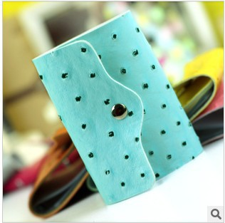 Hot sale! leather dot candy credit card postage new fashion the business card holder cheap bag ID card case wallet free shipping(China (Mainland))