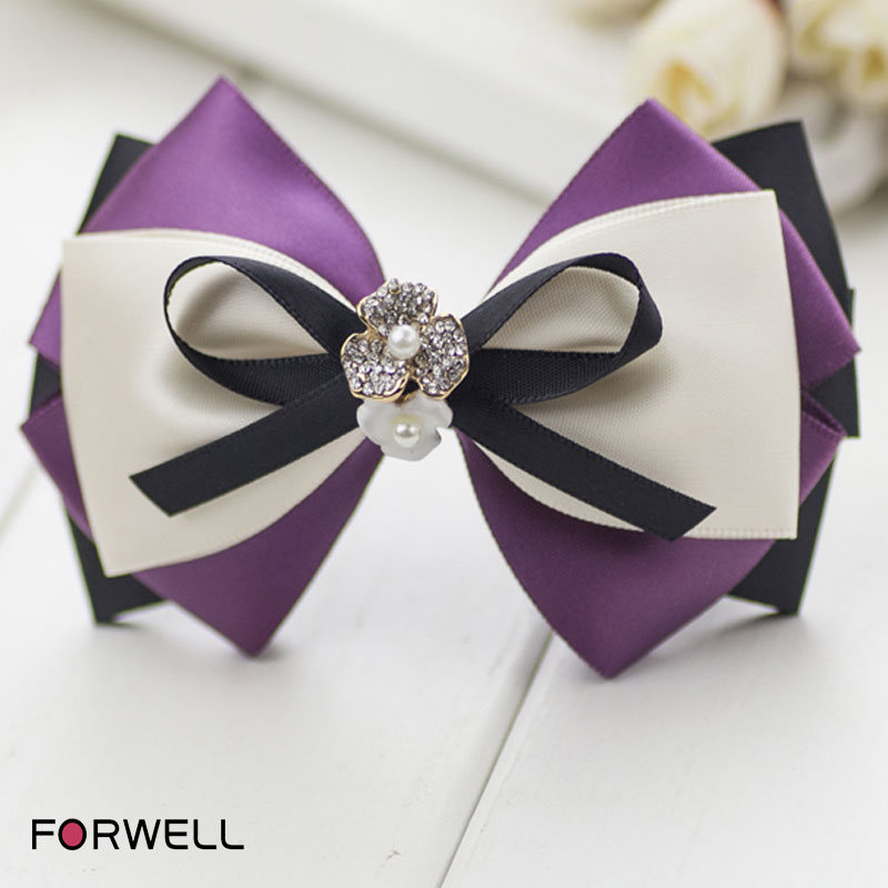 2016 handmade hair accessories for women graceful purple bowknot hair clip rubber bands rhinestone pearl barrettes jewelry(China (Mainland))