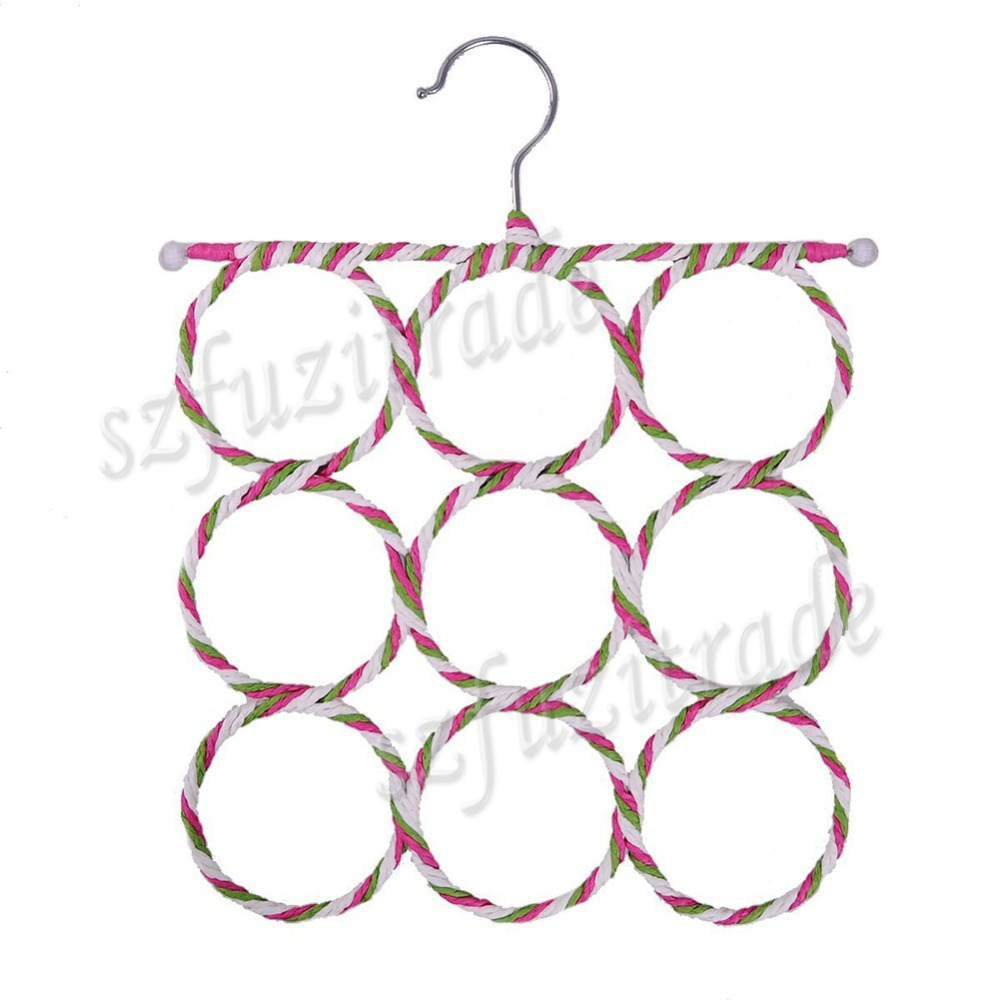 2015 Hot 9-hole Slots Ring Shawl Scarf Belt Tie Hangers Holder Hook Hanger Clothes Organizer Rack Free Shipping AKA00078A#2(China (Mainland))