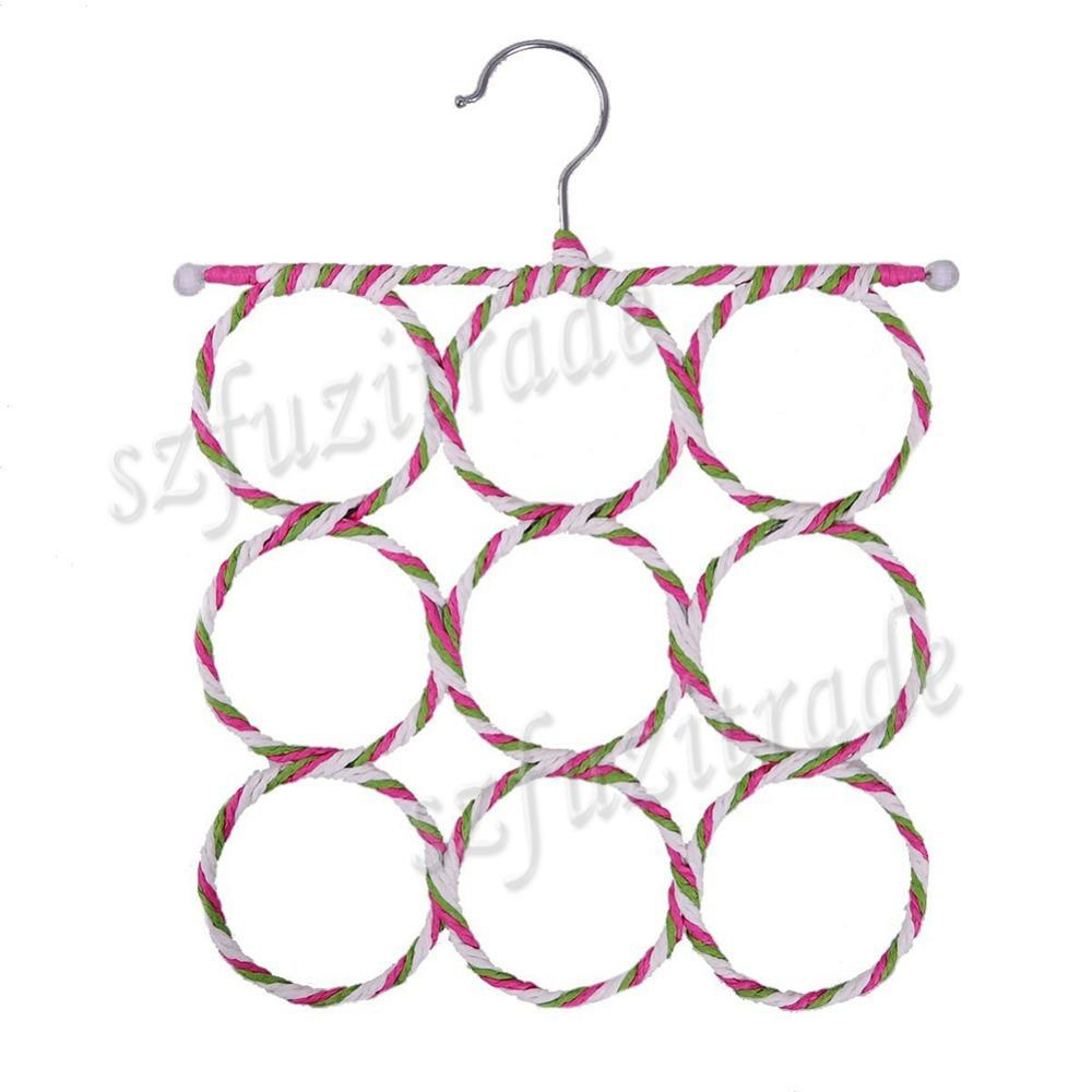 2015 Hot 9-hole Slots Ring Shawl Scarf Belt Tie Hangers Holder Hook Hanger Clothes Organizer Rack Free Shipping AKA00078A#2(China (Mainland))