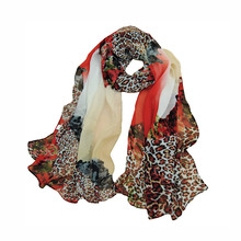 Fashion Women Chiffon Dots Printed Designer Scarf Autumn Gradient Plaid Flower Leopard Casual Silk Scarves Long Wrap Pashmina(China (Mainland))