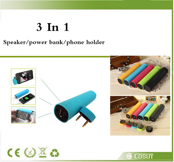 MINI muiltfuction 3 in1 4000mAh Portable Power Bank ,wireless Speaker subwoofer,phone holder for IOS/Android Smartphones lxl119(China (Mainland))