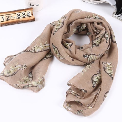 Spring Scarf For Women 2015 New Cotton Cat Scarf Color Embroidered Animal Scarves Brand Shawls And Wraps(China (Mainland))