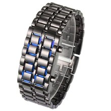 holiday sale Red &Blue Lava Style Iron Samurai Watch Men fashion sports led digital watch SM022