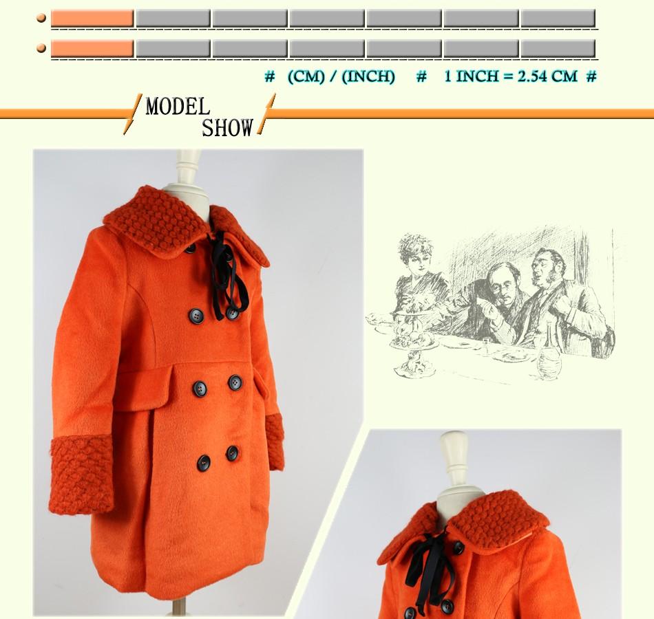 Скидки на Зимнее пальто для девочек двубортный верхняя одежда куртка толстая одежда насыщенный оранжевый свободного покроя верхняя одежда девушки мода пальто 4C0819