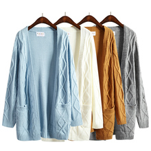 Harajuku 2015 new winter coat thick twist sweater Korean Girls long section long-sleeved knit cardigan(China (Mainland))