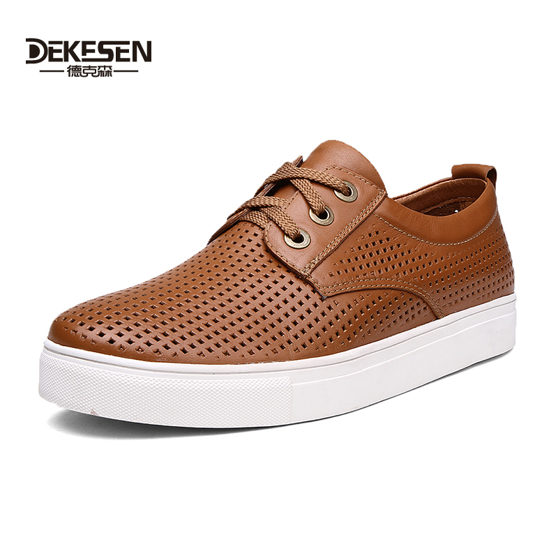 Hot Sale Customize Size 45-52 Ultra Big Size Men Genuine Leather Hollow Flats Boy Wide Shoes lace-up Flat summer men's shoes(China (Mainland))