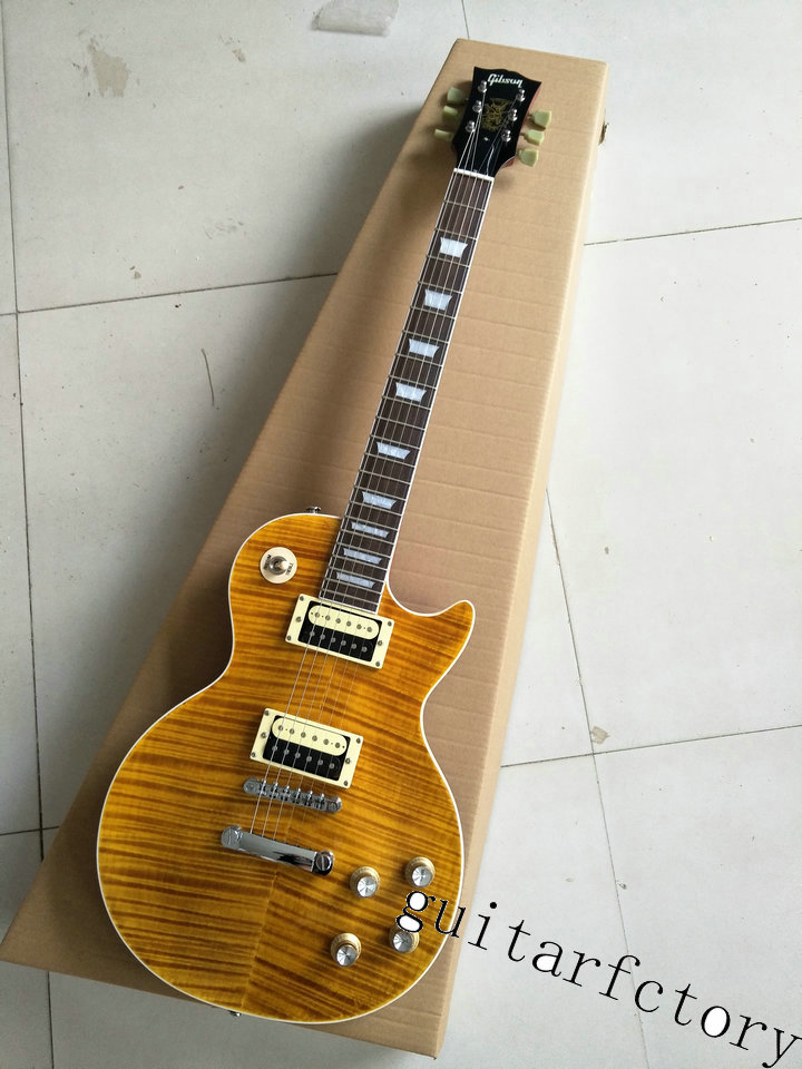 Latest Arrival LP Slash Appetite Yellow Tiger Flame Standard Signature Guitar China Factory In Stock For Sale(China (Mainland))