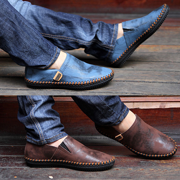 Color block bullock genuine leather trend of the leather shoes low-top men's unique casual shoes fashion the lounger(China (Mainland))