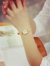Mujer elegante reloj dorado para mujer para mujer reloj de cuarzo pequeño Dial bellas Band pulsera de reloj de moda de renombre oro mujeres reloj
