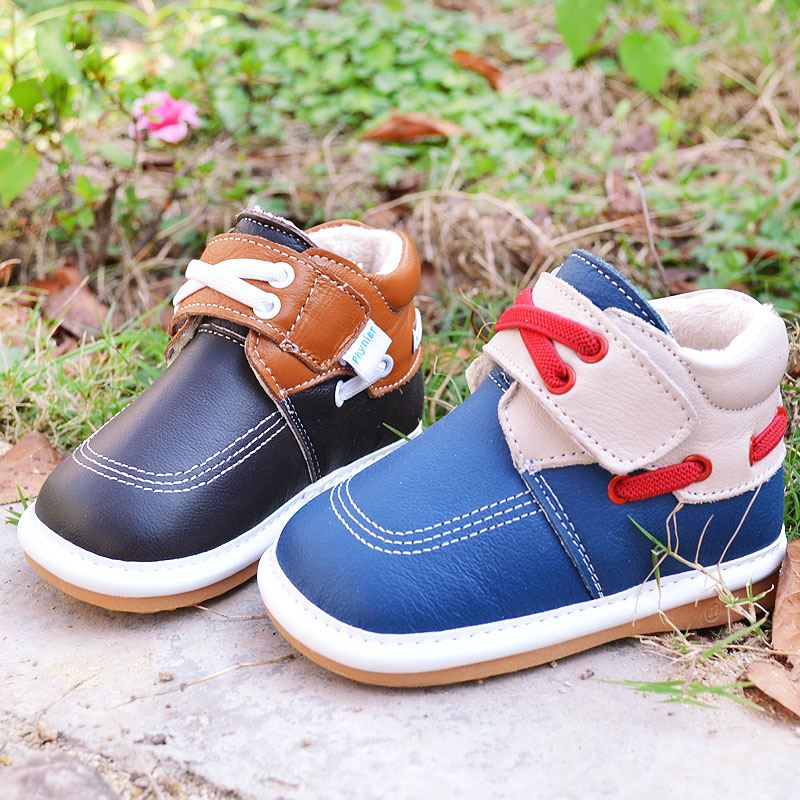 free shipping! genuine cow leather male child kids cotton-padded snow boots 1 - 2 - 3 baby boy martin shoes for infant toddler(China (Mainland))