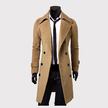 2016 new trench coat men solid color long trench coat mens trench coat slim fit trench Double Breasted Overcoat 3 colors(China (Mainland))