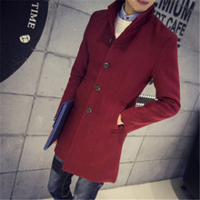 2016 male winter stand collar single breasted brife slim Dust coat / men's solid color youyh pop plus velvet thick casual trench(China (Mainland))