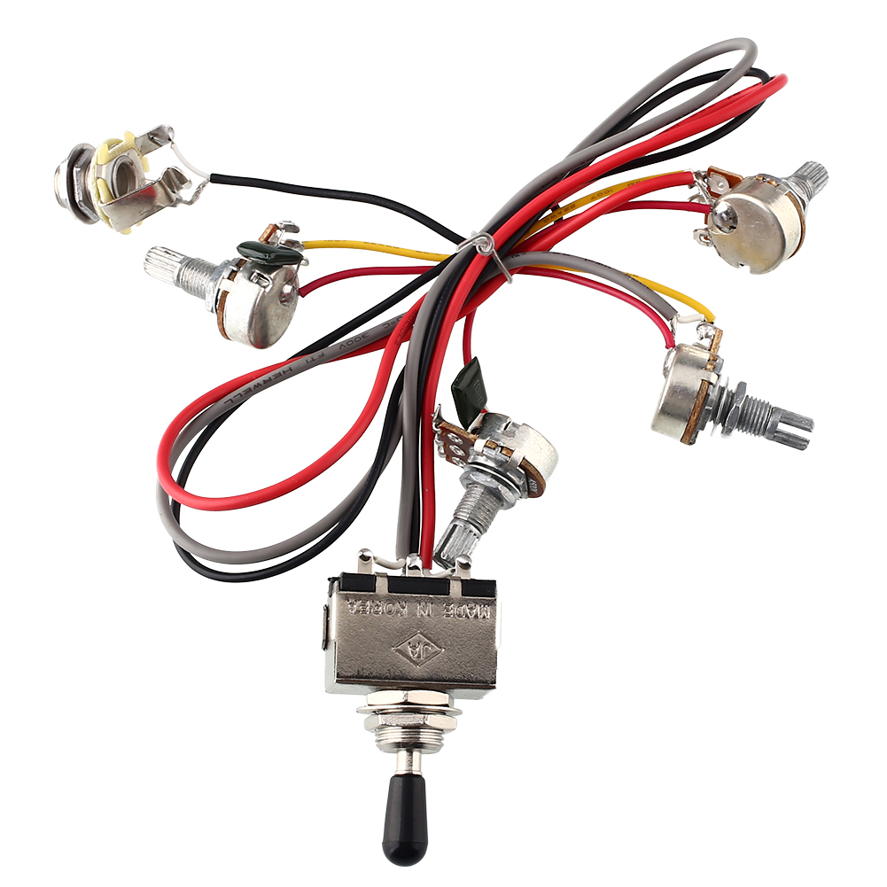 Wiring Harness 2V/2T 3 Way Toggle Switch 500K Pots For Guitar Dual Humbucker Replacement High quality<br><br>Aliexpress
