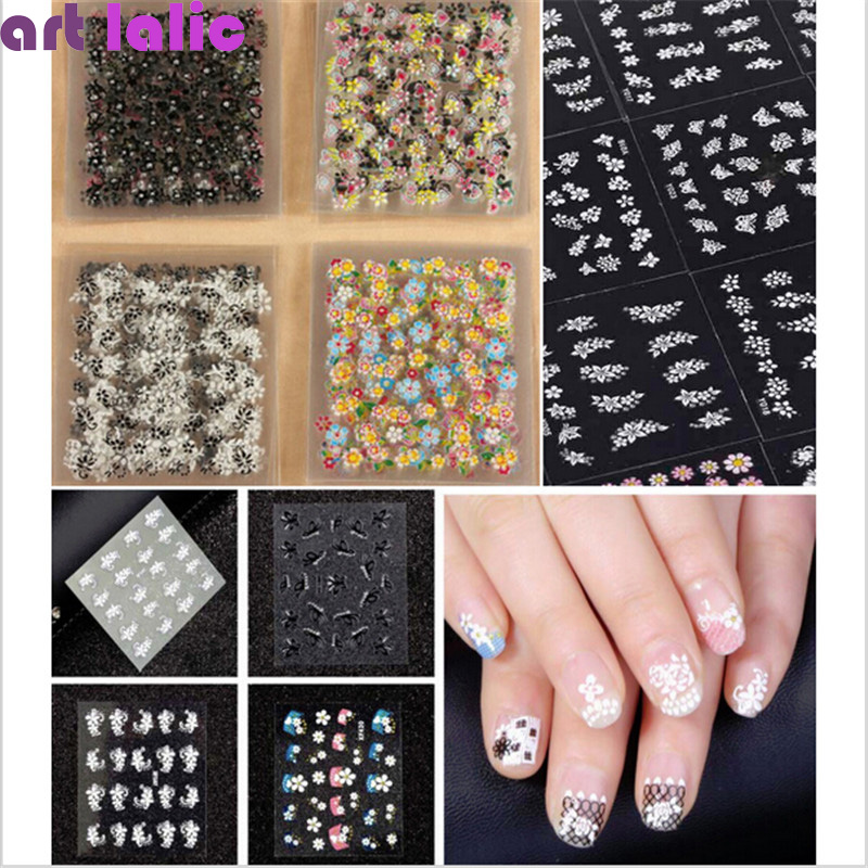 50 Sheets 3D Nail Art Stickers Tips Decal Fashion Flower Tip Decoration Sticks Manicure Accessories - timtimng store