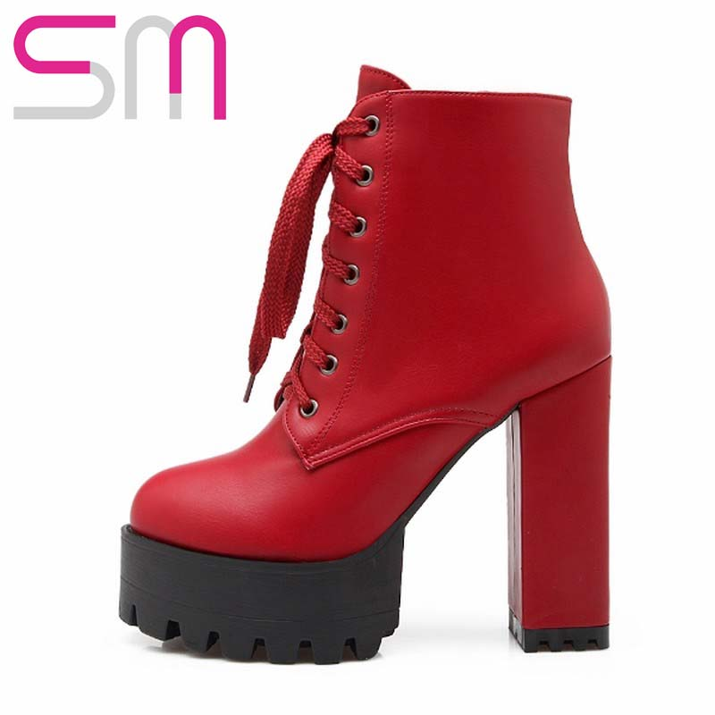 Super High Heels Thick Platform Lace up Ankle Boots for Lady's Thick High Heels Spring Fall Winter Boots Women Fashion Boots