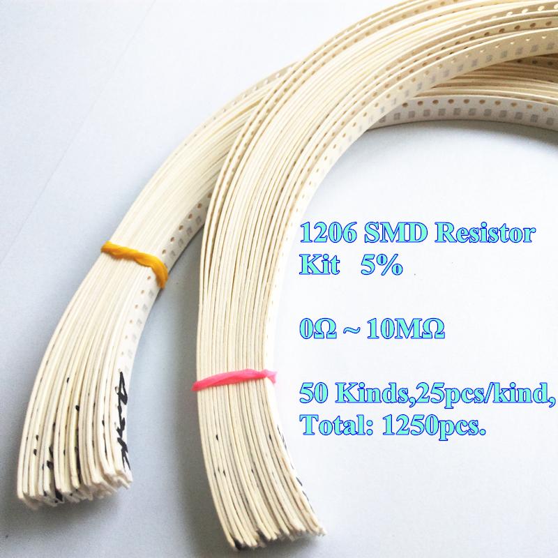 High Quality 1206 SMD Resistor Kit (0R~10MR) 5% 1/4W 0.25W 50 Value * 25pcs =1250pcs(China (Mainland))