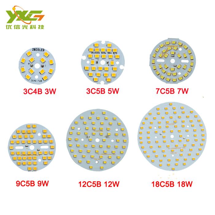 High quality LED PCB Making DIY 2835 SMD 3W 5W 7W 9W 12W 18W LED Lamp Bulb Module 90lm/w warm & cold white Free shipping(China (Mainland))