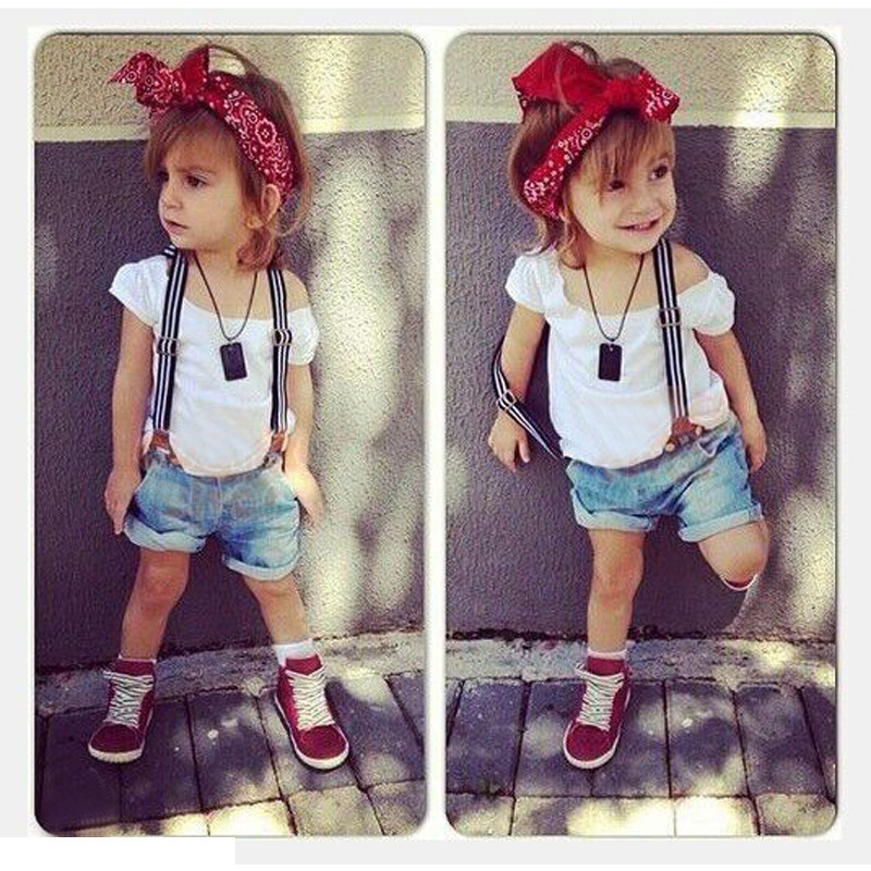 New summer 2015 children kids clothing set baby girl fashion suits t shirt+shorts+suspenders 3pcs girls sets baby suits(China (Mainland))