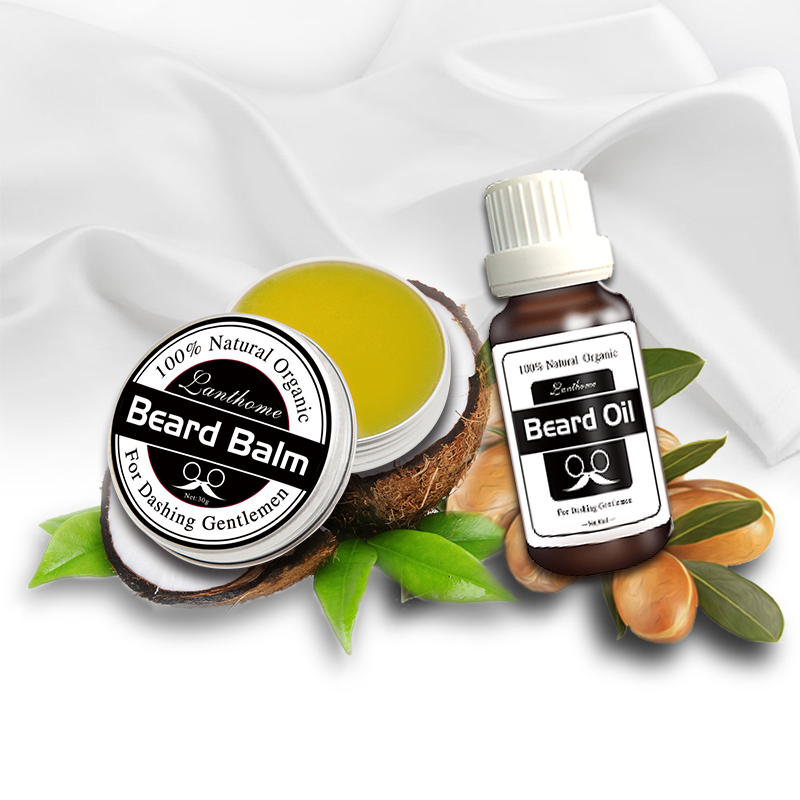 2016 new Lanthome 100% Natural Beard Oil + beard care wax balm Organic Beard Conditioner Leave in Styling Moisturizing Effect(China (Mainland))