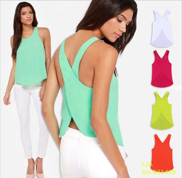 Free Shipping 2016 Summer Women Blouses Candy Color Casual Lady Shirts Sexy Backless Strap Chiffon Blouse Tops ladies' Vest(China (Mainland))