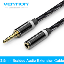 Buy Vention 3.5mm Jack Male Female Stereo Aux Extension Cable 1m/2m/3m/5m iPhone iPod Car Headphone Nylon Braid Audio Cable for $5.19 in AliExpress store