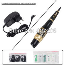 Free Shipping Permanent Makeup Eyebrow Rotary Tattoo Machine Microblading Pen Kit with 50 Needles 50 Tips EU or US Plugs(China (Mainland))