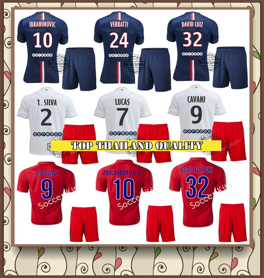 Maillot de Foot IBRAHIMOVIC Soccer Jersey kits Homme CABAYE Jersey 14 15 T.SILVA home Blue white Survetement FOOTBALL psg 2015(China (Mainland))