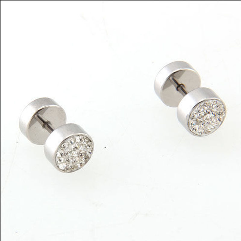 1 pair Hot sale Titanium Steel Silver Single Alloy fashion Barbell Girls Man Earring Ornaments New bijoux femme boucle d'oreille(China (Mainland))