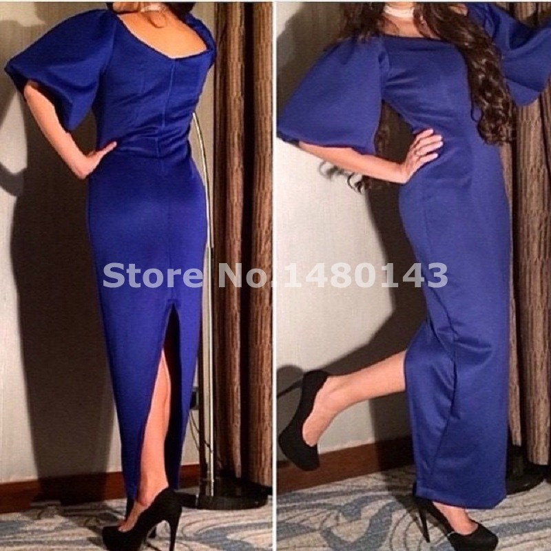 2016 Women Ankle Length Evening Dresses Elegant Saudi Arabia Dubai Navy Blue Middle East Satin Party Dress Vestido(China (Mainland))