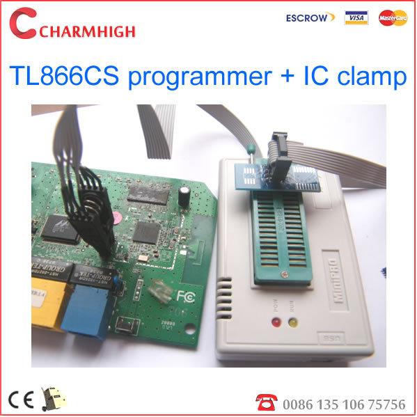 New 6.1 version TL866cs USB Programmer + IC clamp Support 13143+ IC AVR PIC Bios 51 MCU Flash, win7 64bit, win 8(China (Mainland))