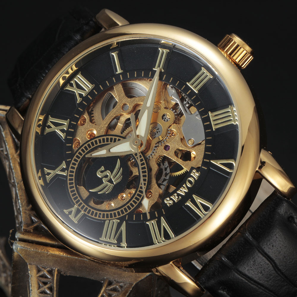 2016 new fashion Sewor brand skeleton men business clock steel army leather hand wind mechanical luxury gold wrist gift watch(China (Mainland))