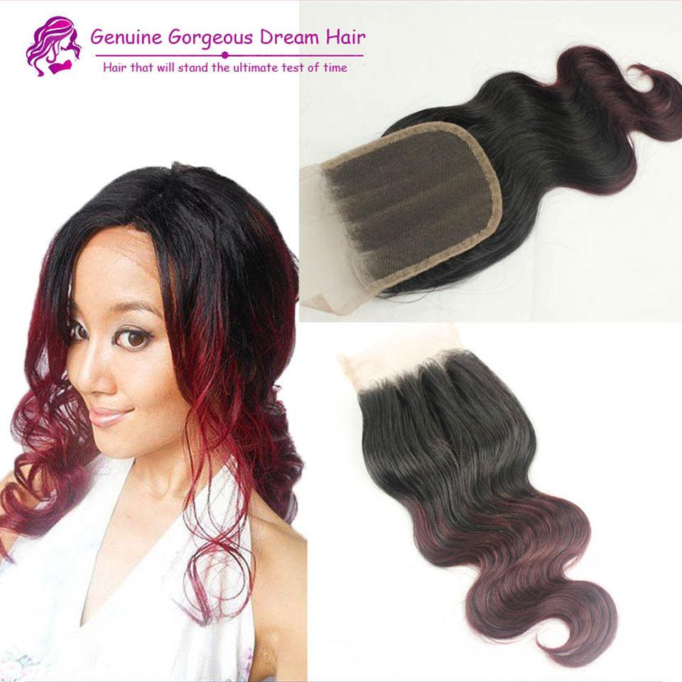 4*4 Medium brown lace color #1bT99j human virgin hair silky body wave lace closure ombre brazilian 3 part 99j lace closure<br><br>Aliexpress