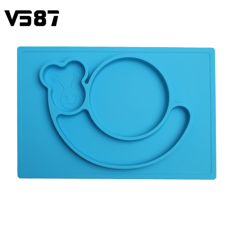 Dinner Dish Snail Plate Silicone Children Food Placemat Baby Feeding Bowl Slip-resistant Kids Fruit Bowl Dinnerware(China (Mainland))