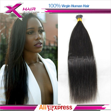 I Tip Keratin Hair Extensions 1 Gram Pre bonded Hair 100 Strands Unprocessed Virgin Mongolian i tip hair extension Straight(China (Mainland))