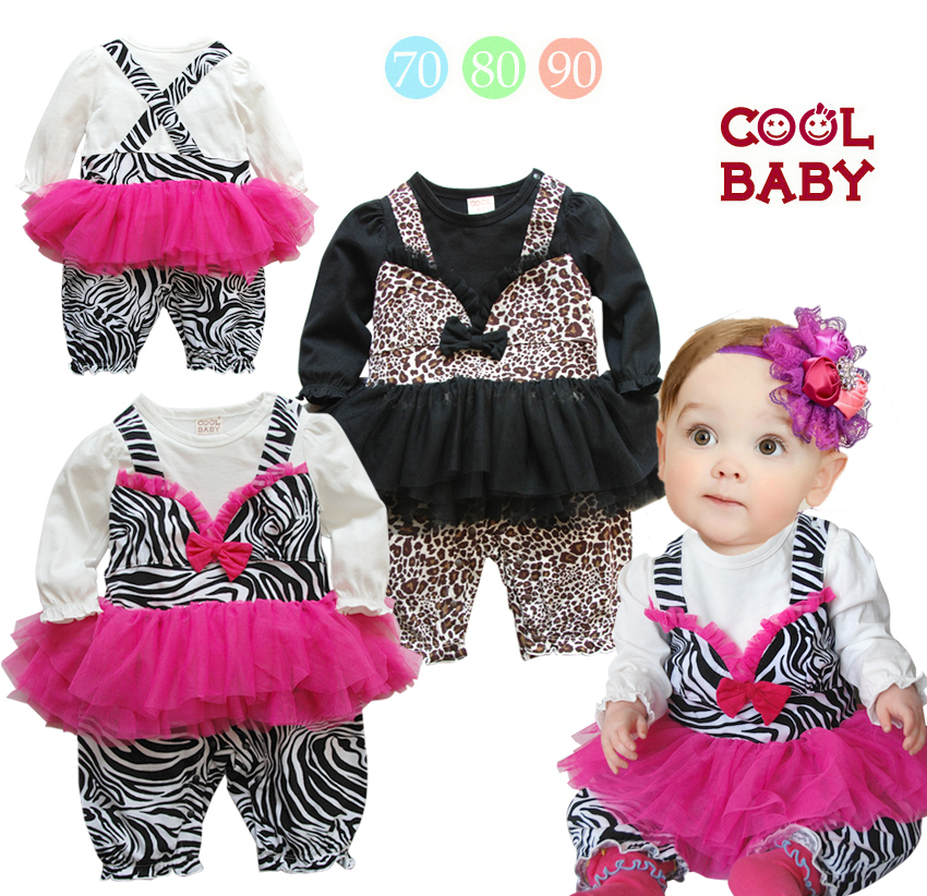 New Leopard Baby Rompers Wholesale Long Sleeve Baby Girls Lace Tutu Newborn Jumpsuits One Pieces ...
