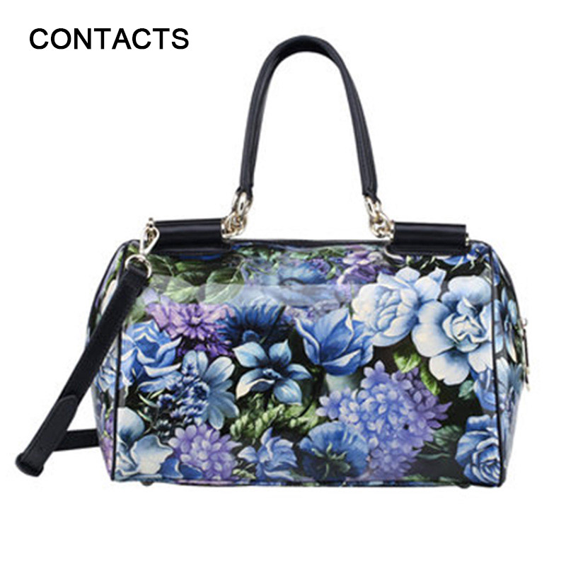 High Quality Aristocratic Floral Print Women Hand Bag Trivel Messenger Bags Patent Leather Fashion Wedding Party Bag Tote Bolsos(China (Mainland))