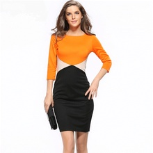 2016 european style stitching cup sexy package hip Slim was thin sleeved pencil dress(China (Mainland))