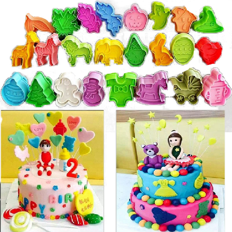 Cake Decorating Sugar Animals : 24 Style Animals Halloween Spring Plastic Cake Tool ...