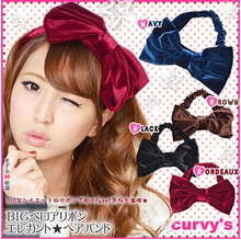 6855 retro velvet Bow headband headbands to head band hair bands for women girl sport washroon hoop for hair free shipping(China (Mainland))