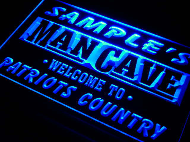 Personalized Man Cave Neon Signs : Qf tm name personalized custom man cave patriots country