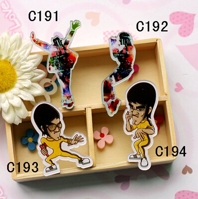 (min mix order is $10) 2015 New Fashion Harajuku Acrylic Broochs Favorite Bruce Lee Michael Jackson badge brooches gift(China (Mainland))