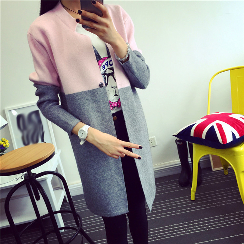 Autumn Winter Cardigan Women Patchwork Long Wool Women Sweater Slim Knitted Sweater Women(China (Mainland))