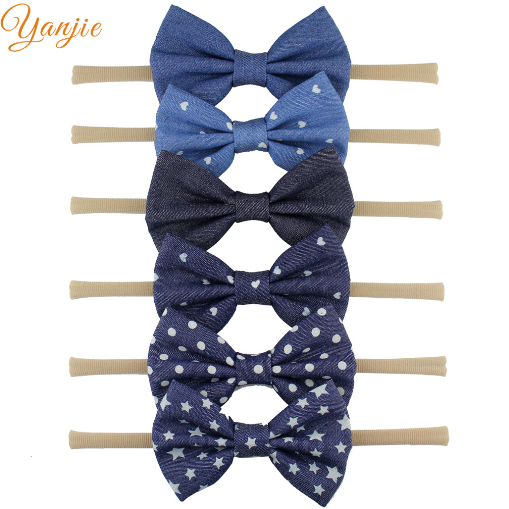 6pcs/lot 2016 New Girls 4'' Denim Knot Bow Elastic Nylon Headband, Baby Headbands,New Born & Infant Toddler Hair Accessories(China (Mainland))