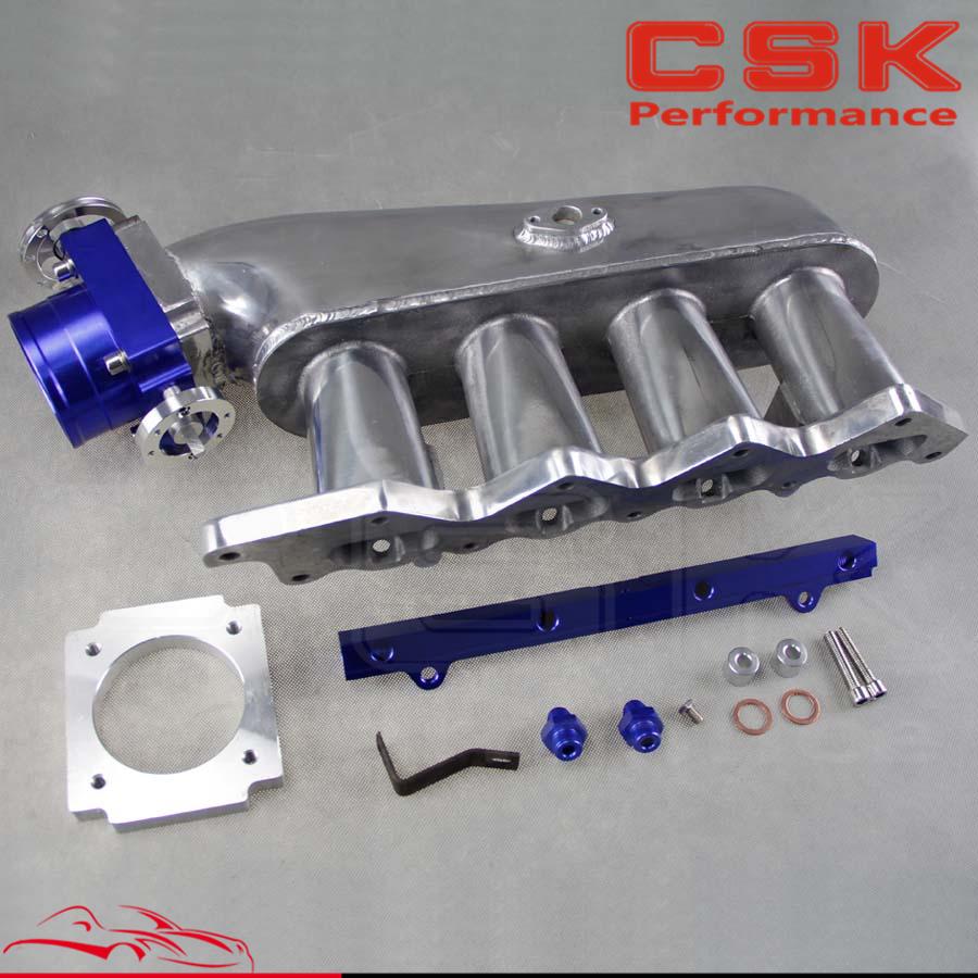 Intake Manifold+80mm throttle body +Fuel Rail for Mitsubishi Evolution LanEvo Lancer EVO 4 5 6 7 8 9 4G63 Blue / Purple(China (Mainland))
