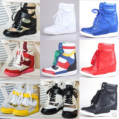 Free Shipping 2014 new high top leisure shoes for women original multicolor wedge high heel women