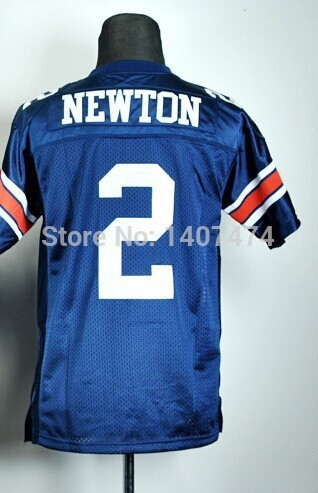 new year top selling/cheap youth/boy/kid's college  jersey Auburn Tigers #2 Cam Newton blue stitched